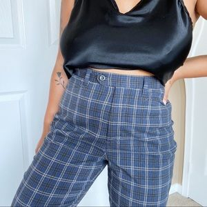 Vintage High Waisted Plaid Trousers